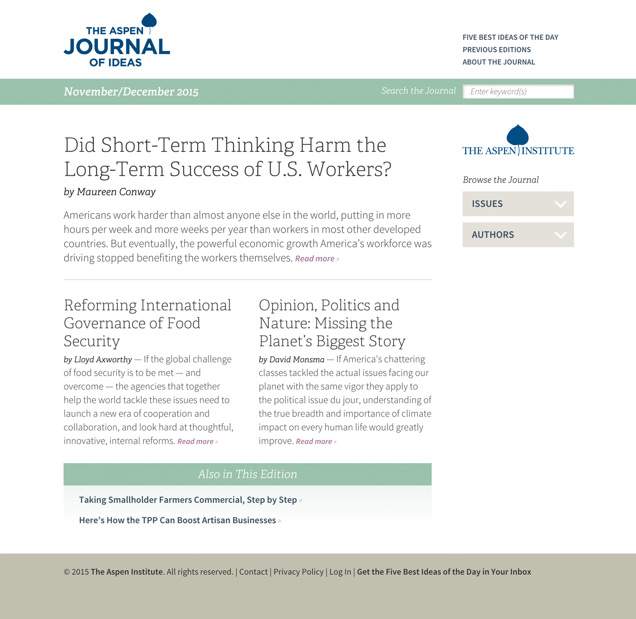 The Aspen Journal of Ideas, Screen 1